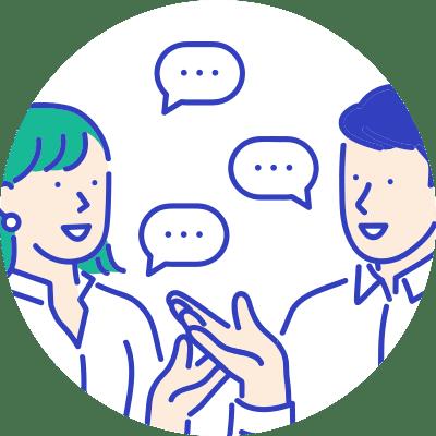会話をしている人々